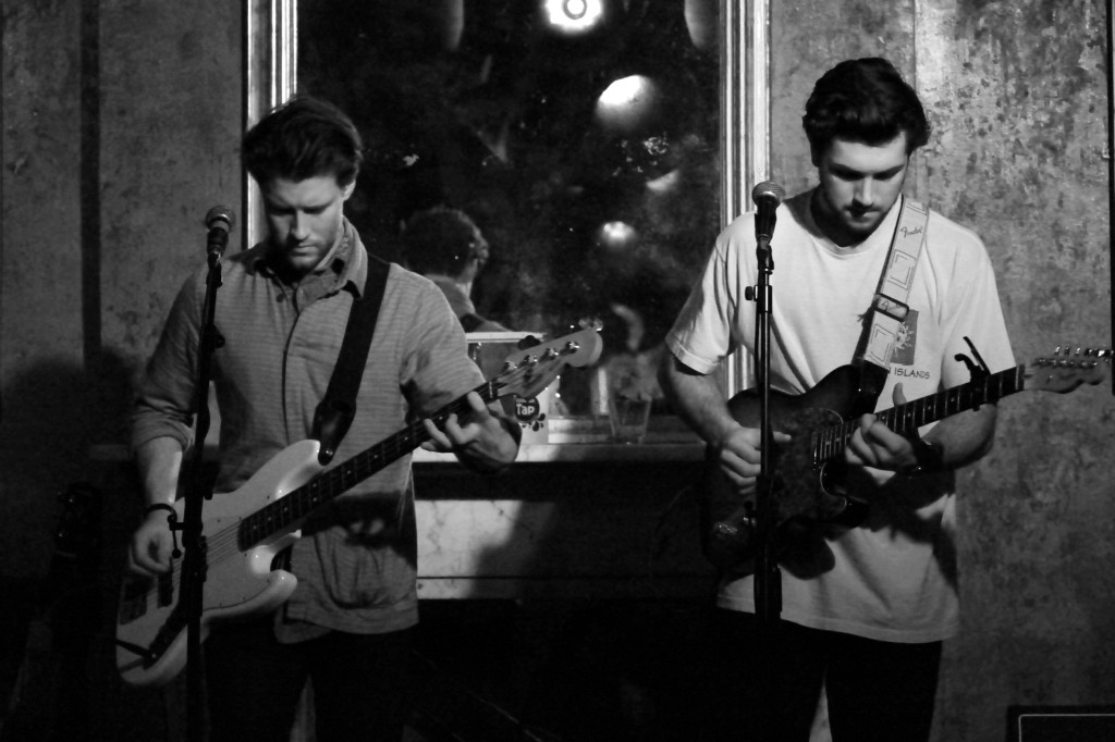 Jack Manser (left) and Theo Byrd (right) from Fourth and Folsom playing at The Old Queen's Head, Islington