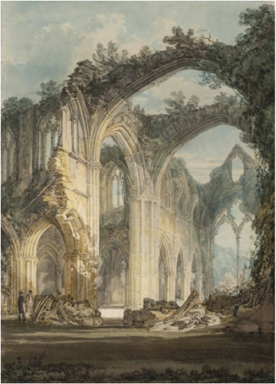 JMW Turner, Tintern Abbey: The Corssing and Chancel, Looking towards the East Window, 1794