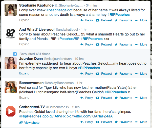 Just a handful of the online tributes that were shared after Peaches' sudden death