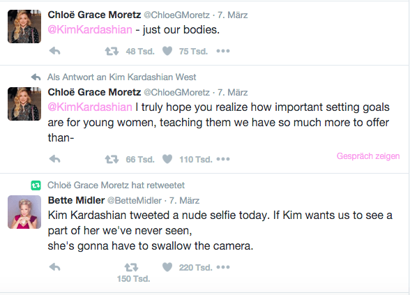 Chloe Grace Moretz and Bette Midler's comments on the selfie. Photo Credit: Twitter