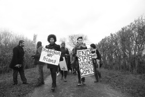 Action of Sisters Uncut at Yarls Wood detention centre. Photo credit: Levi Lawrence