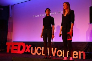 Olivia and Sneh of Bread and Roses. Image courtesy of TEDx UCL Women